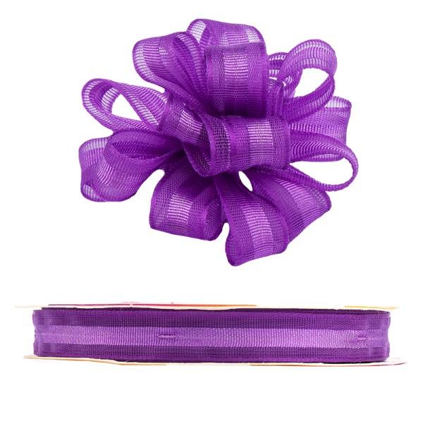 Ziehrüschen-Band, Organza, 1cm breit, 10m lang, violett