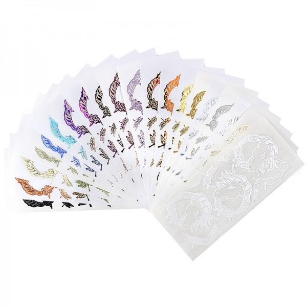 Sticker, Einhörner, verschiedene Farben & Folien, 20 Bogen