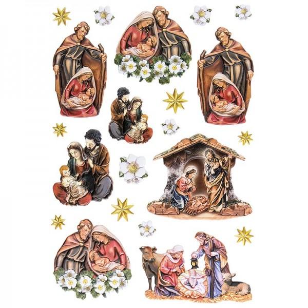 3-D Relief-Sticker, Heilige Familie, verschiedene Größen, selbstklebend