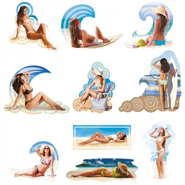 3-D Motive, Strandschönheiten, 3,5-12cm, 10 Motive
