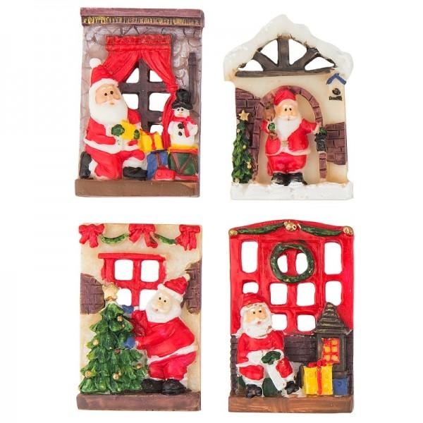 Relief-Figuren, Weihnachtliche Szene, 4 Stück