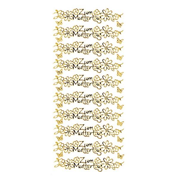 Sticker, Zum Muttertag, Spiegelfolie, gold