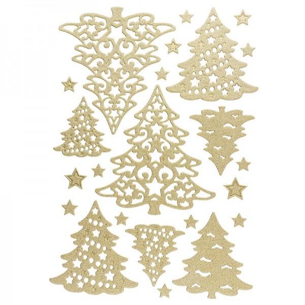 3-D Sticker, Deluxe Tannenbäume, verschiedene Größen, selbstklebend, gold