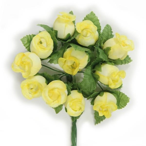 Deko-Rosen, gelb/weiß, 10er Set