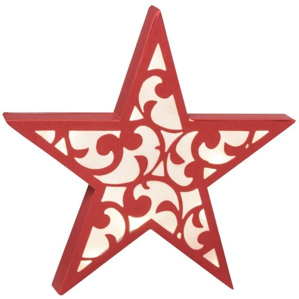 Stern Diana, 24 cm Ø, Stanzformen, rot/weiß