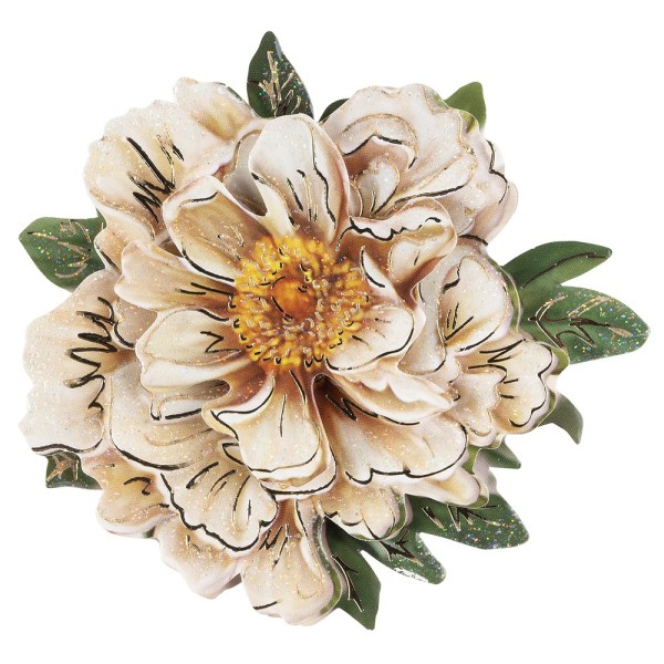 3-D Motiv, weiße Blüte, Gold-Gravur & Glimmerlack, 8cm