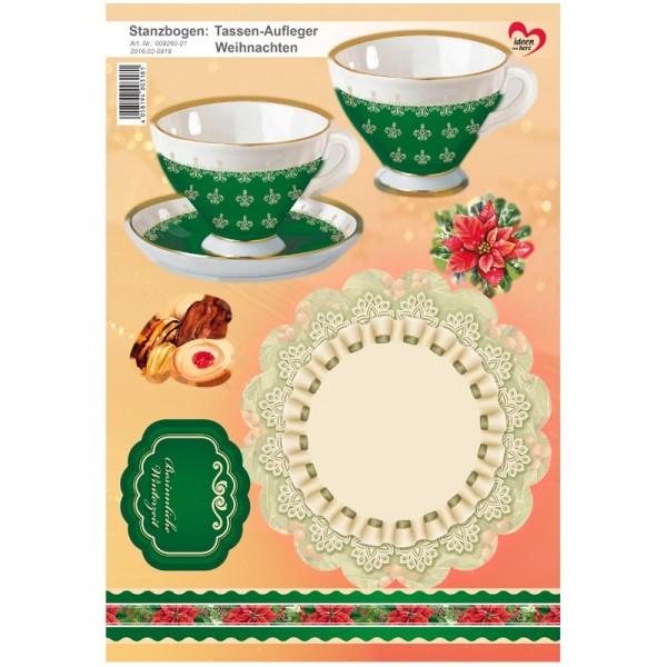 Stanzbogen, Tassen-Aufleger Weihnachten, DIN A4, grün