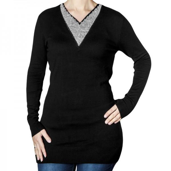 Pullover mit V-Ausschnitt & Strass-Steinen, schwarz, Größe 52/54