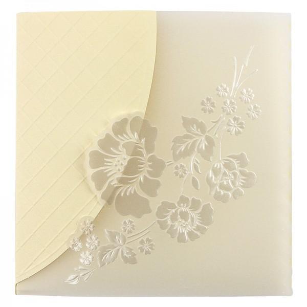 Exquisit-Grußkarten mit Top-Prägung, 14,1 x 14,1 cm, 10 Stück, creme mit Transparentpapier