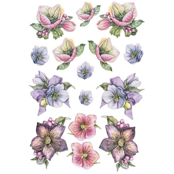 3-D Relief-Sticker, Weihnachtliche Blumen 2, versch. Größen, selbstklebend
