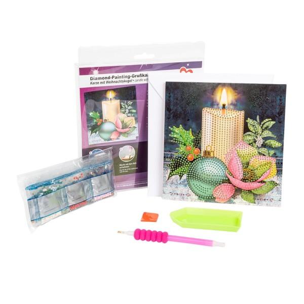 Diamond-Painting-Grußkarte, Kerze & Weihnachtskugel, 16cm x 16cm, 370g/m², inkl. Umschlag & Werkzeug