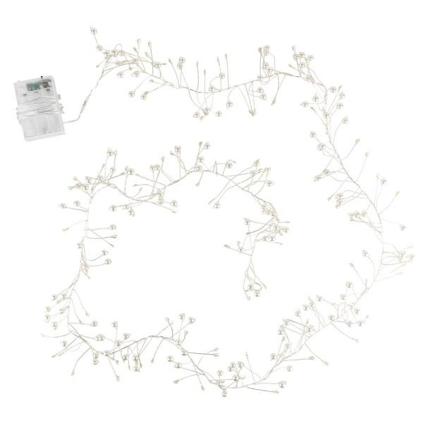 LED-Bündel-Drahtlichterkette mit Perlen, weiß, 150 LED-Lämpchen in Warmweiß, inkl. Timer