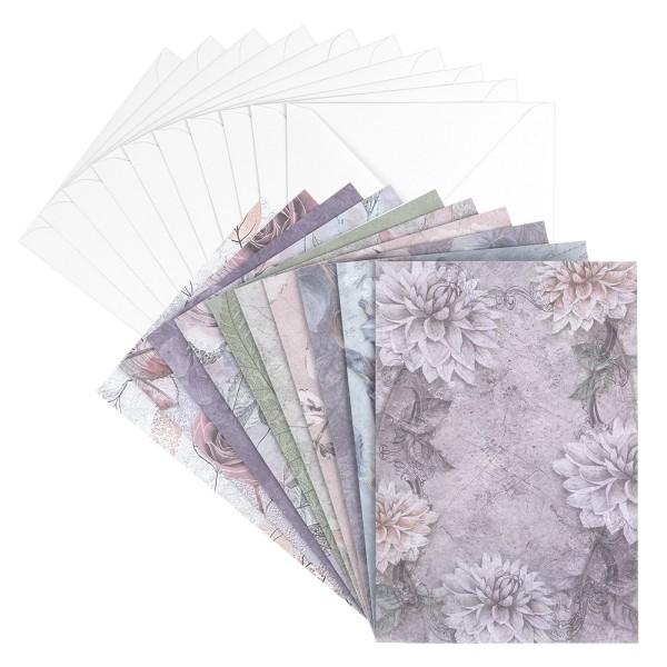 Motiv-Grußkarten, Kondolenz, floral, B6, 230 g/m², versch. Designs, inkl. Umschläge, 10 Stück