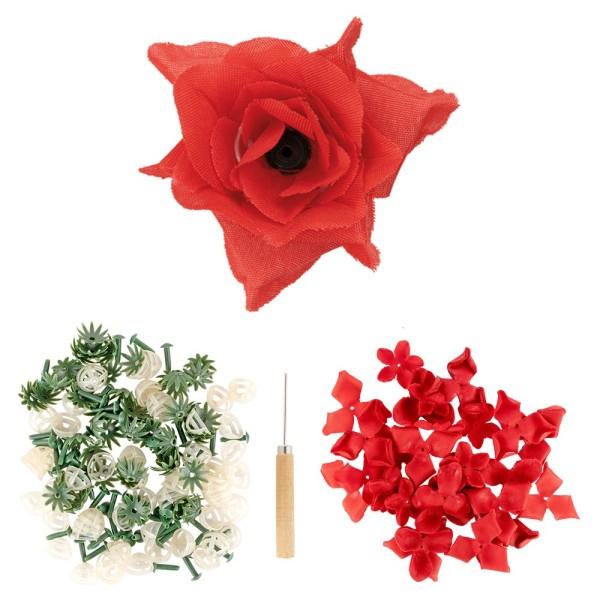Deko-Blüte Rose, zum Selbstgestalten, rot, 501-teilig, 50 Stück