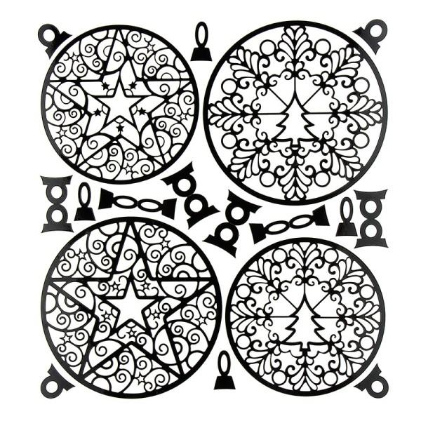 Kugel-Sticker, Weihnachten, Design 1, 23cm x 20cm, schwarz