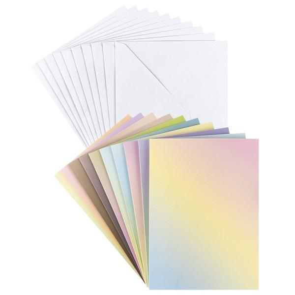 Grußkarten, Farbverlauf pastell, B6, 10 versch. Farbverläufe, inkl. Umschläge, 10 Stück