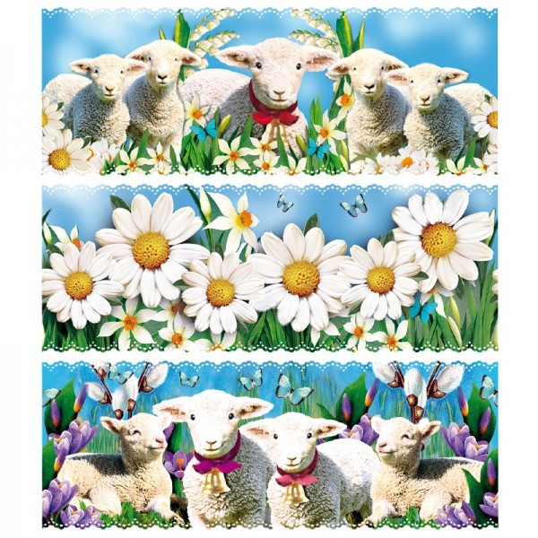 """Zauberfolien """"Schafe 2"""", Schrumpffolien für Eier mit 9,5cm x 6,5cm, 7,6cm hoch, 6 Stück"""