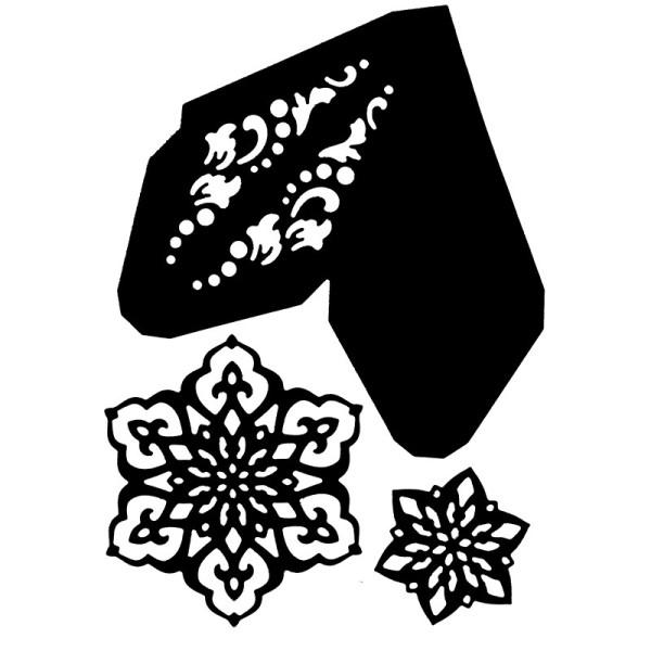 Stanzschablonen, Faltstern & Eiskristalle, 17,5cm x 19,5cm, 3 Stück