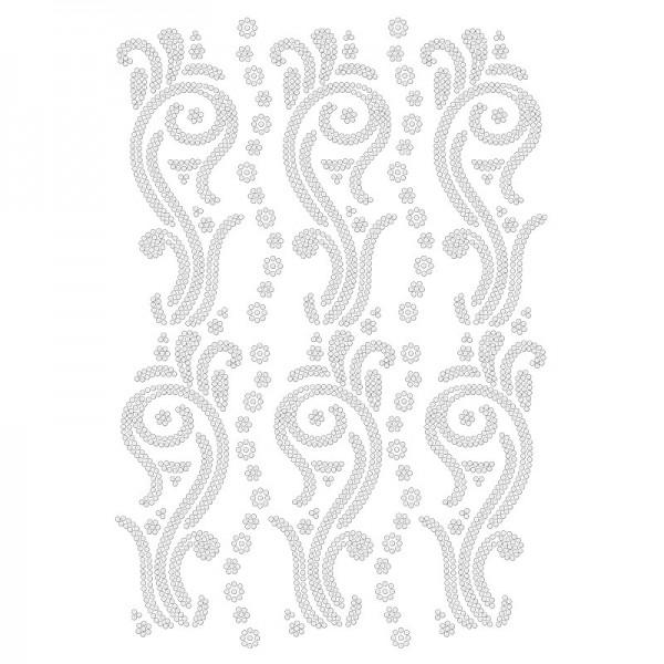 Bügelstrass-Design, DIN A4, klar, Ornamente 9