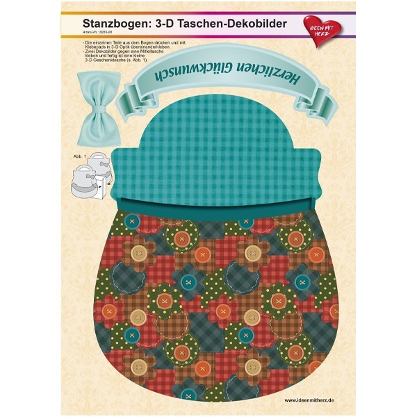 Stanzbogen, 3-D Taschen-Dekobilder, DIN A4, Design 8, 2er Set