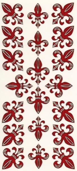 Microglitter-Sticker, Französische Lilie, rot