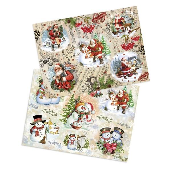 """Reispapiere """"Weihnachten 2"""", DIN A4, 2 Designs"""