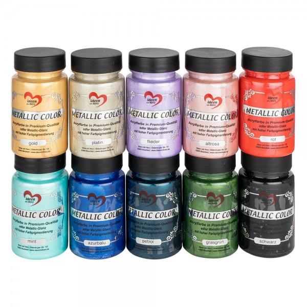 """Premium-Acrylfarben """"Metallic Color"""", Sonderedition, 90ml, verschiedene Farben, 10 Stück"""