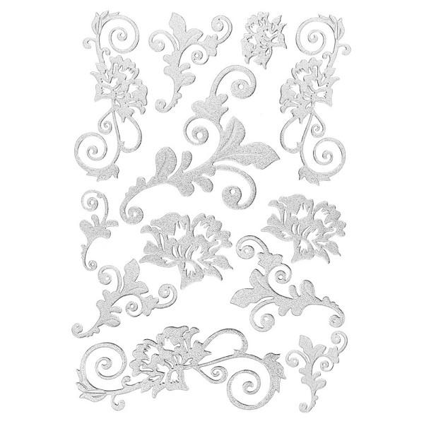 3-D Sticker, Deluxe Blumenranken, selbstklebend, silber