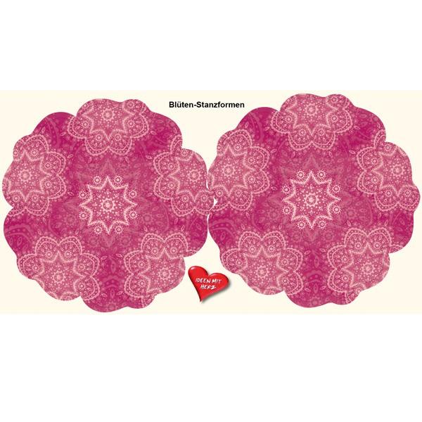 Blüten-Stanzbogen, 2 Blüten, Ø15cm, fuchsia. 6er Set