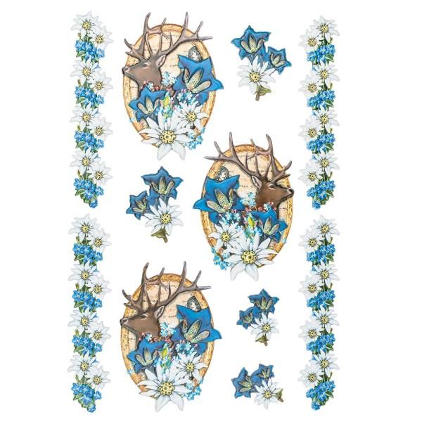 3-D Relief-Sticker, Edelweiß 2, verschiedene Größen, selbstklebend