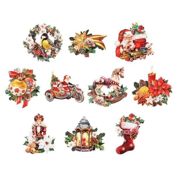 3-D Motive, Vintage-Weihnachten, 7,5-10,5cm, 10 Stück