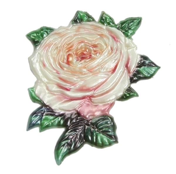Wachsornament Rose, creme, geprägt, 6,5 x 6,5 cm