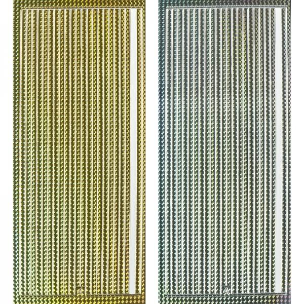 Sticker, Linien, 4mm, gold & silber, Laserzauberfolie, 10 Bogen