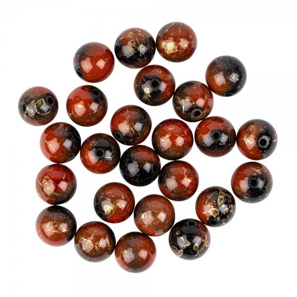 Perlen, rund, marmoriert, Ø 1,4cm, Tigeraugen-Optik,rot/braun/schwarz/gold, 25 Stück