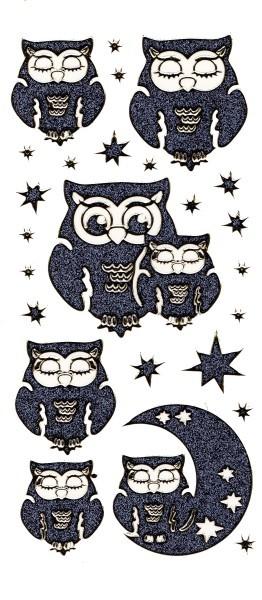 Microglitter-Sticker Eulen & Sterne, anthrazit