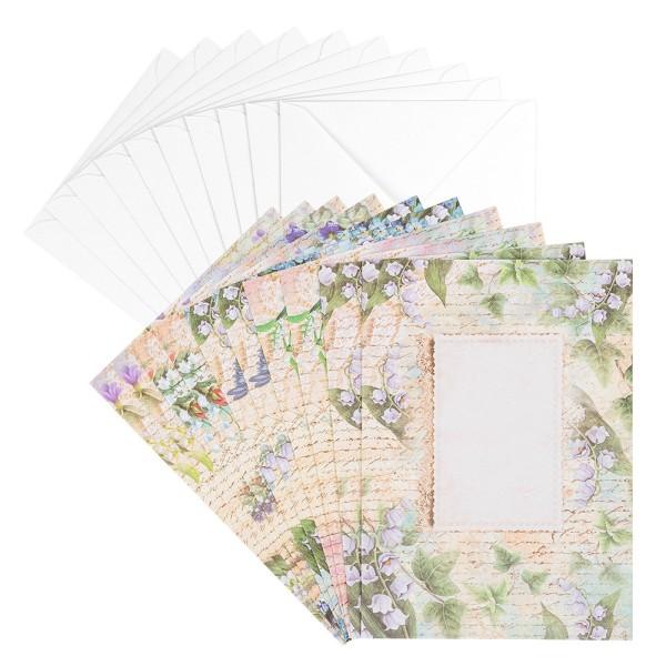Motiv-Grußkarten, Vintage-Maiglöckchen, B6, 230 g/m³, 5 Designs, inkl. weißen Umschlägen, 10 Stück