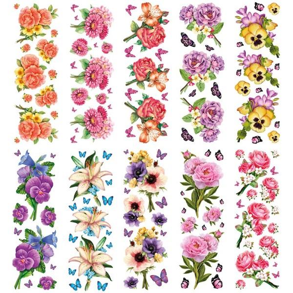 Transparent-Sticker, Blumen-Sträußchen, 10cm x 30cm, 10 Bogen