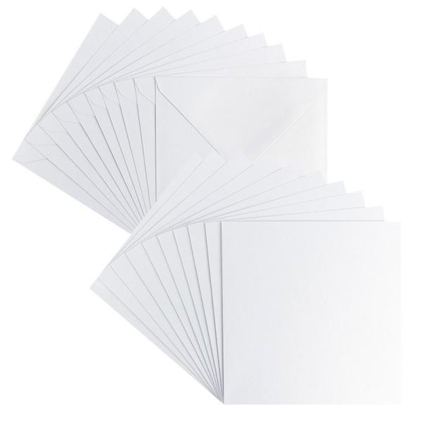 Grußkarten, Perlmutt, 16cm x 16cm, weiß, inkl. Umschläge, 10 Stück