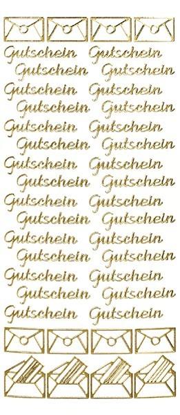 Sticker, Schrift, Gutschein in gold