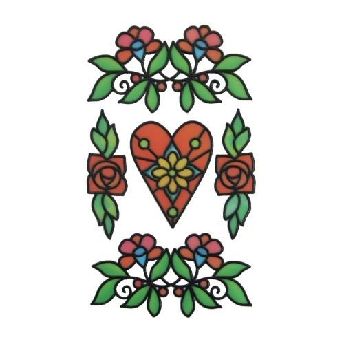 Glas-Design-Stickerbogen, 15 x 9 cm, Floristik & Herz