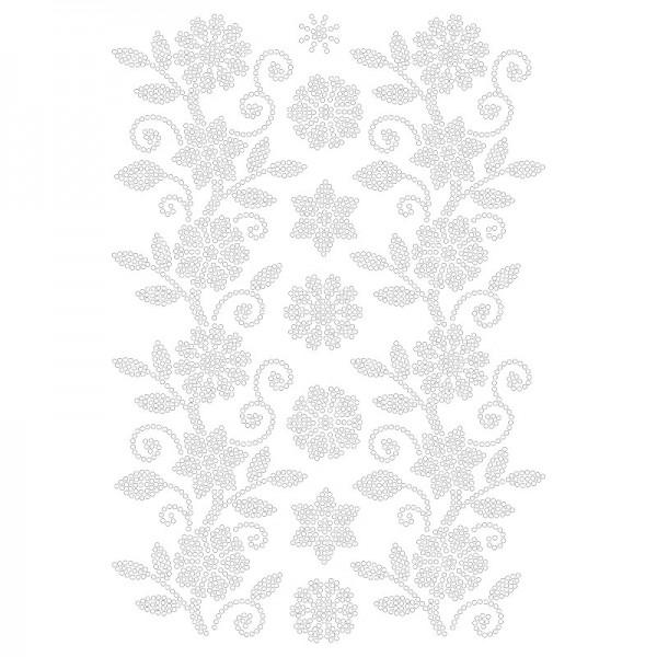 Bügelstrass-Design, DIN A4, klar, Blumenranken 2