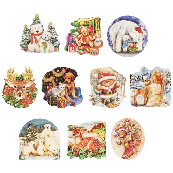 3-D Motive, vorgestanzt, Tiere, weihnachtlich, 10 Motive