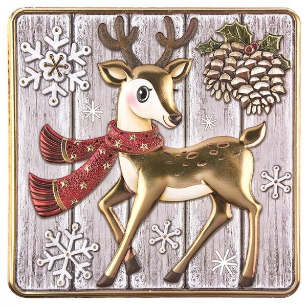 Relief-Sticker, Reh auf Holzpaneelen, Holz-& Metallic-Optik, 18cm x 17,5 cm