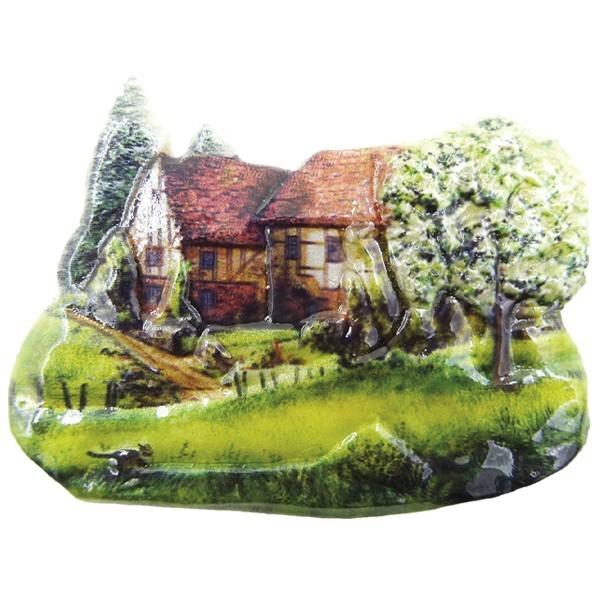 Wachsornament Sommerdörfer 7, farbig, geprägt, 8cm
