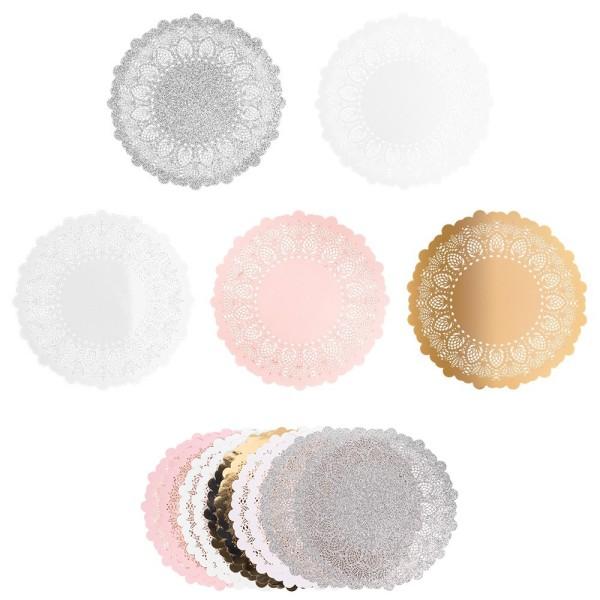 XL-Laser-Ornamente, Zierdeckchen 8, verschiedene Farben, Ø 20cm, 10 Stück