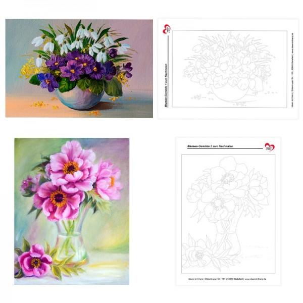 Vorlagebogen, Blumen-Gemälde zum Nachmalen, inkl. Gestaltungsbeispielen, DIN A4, 2 Stück