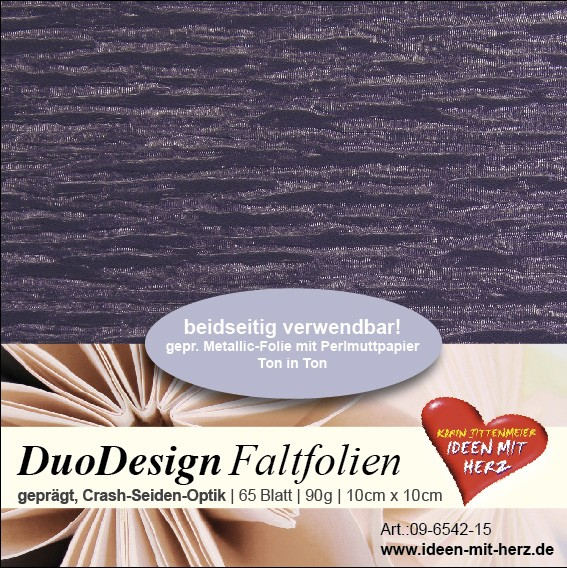 DuoDesign Faltfolien, Seiden-Optik, 10cm x 10cm, 65 Blatt, dunkelflieder