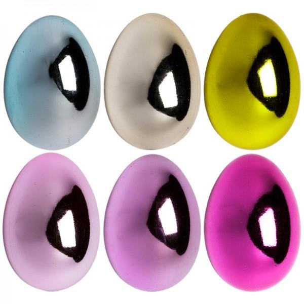 Kunststoff-Eier mit Loch, 5,5 cm hoch, Ø 4 cm, metallic, 12 Stück