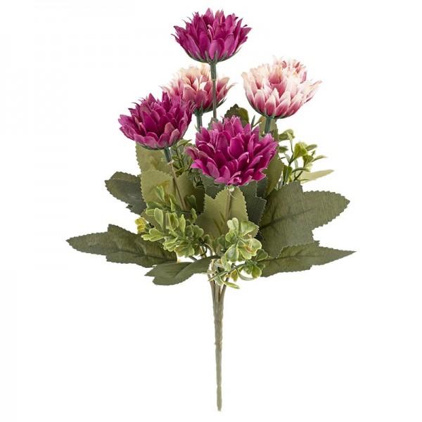 Blütenbusch, Chrysanthemen 3, 28cm hoch, 6 große Blüten, Ø 3,5cm, pink/apricot