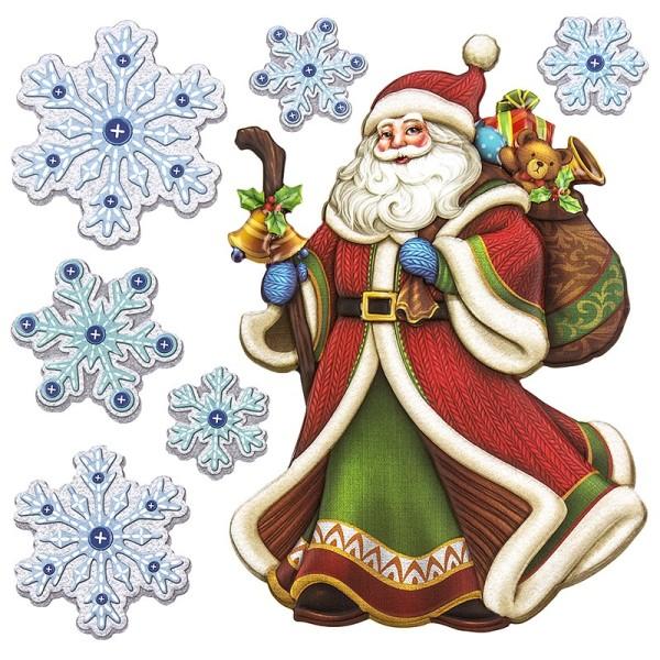 Relief-Sticker in Holzoptik, Weihnachtsmann 2, 18cm x 17,5cm